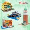Cubicfun 3D модель бумаги ПОДЕЛКИ игрушки головоломки подарок мини мире отличная архитектура Италии народный дом башня Моста Риальто строительство лодка