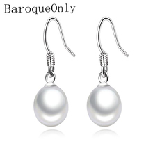 BaroqueOnly 925 Sterling silver  Freshwater Pearl Earrings Natural Drop Shape Jewelry Wedding Gift For Women