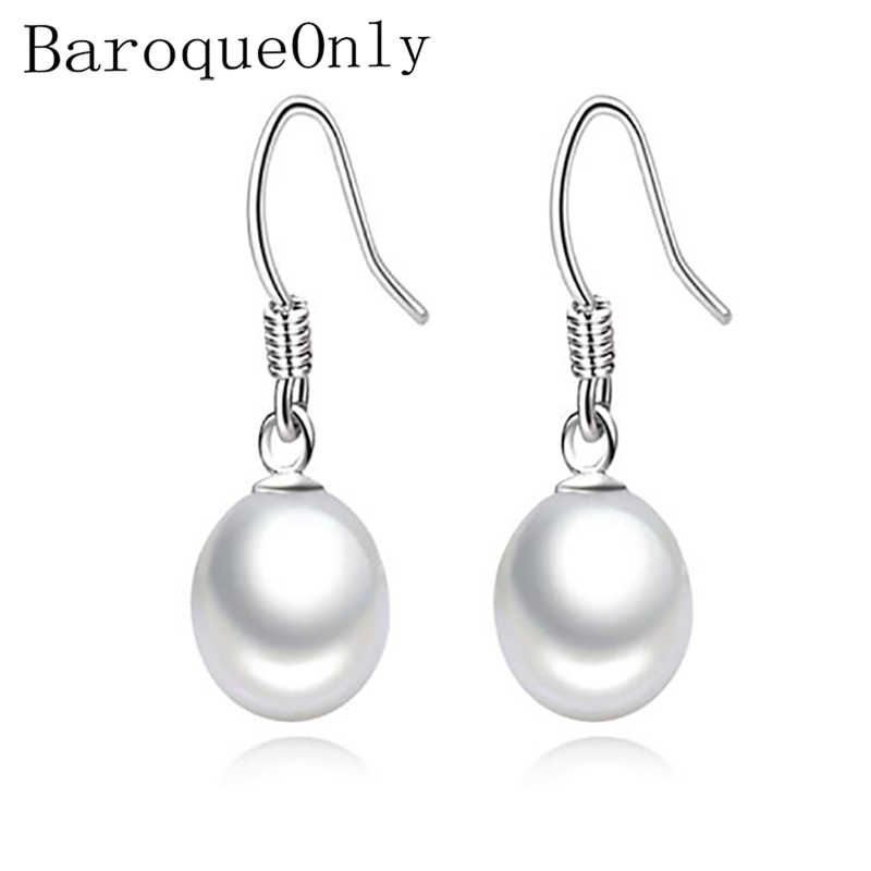 1db690b18 BaroqueOnly 925 Sterling silver Freshwater Pearl Earrings Natural Pearl Drop  Shape Jewelry Wedding Gift Earrings For