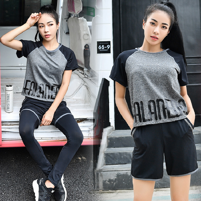 VERZY 2018 new 4 pieces yoga set women solid letters T-shirt+sports bra+shorts+pants gym suit female sportswear 5 colors fitness все цены