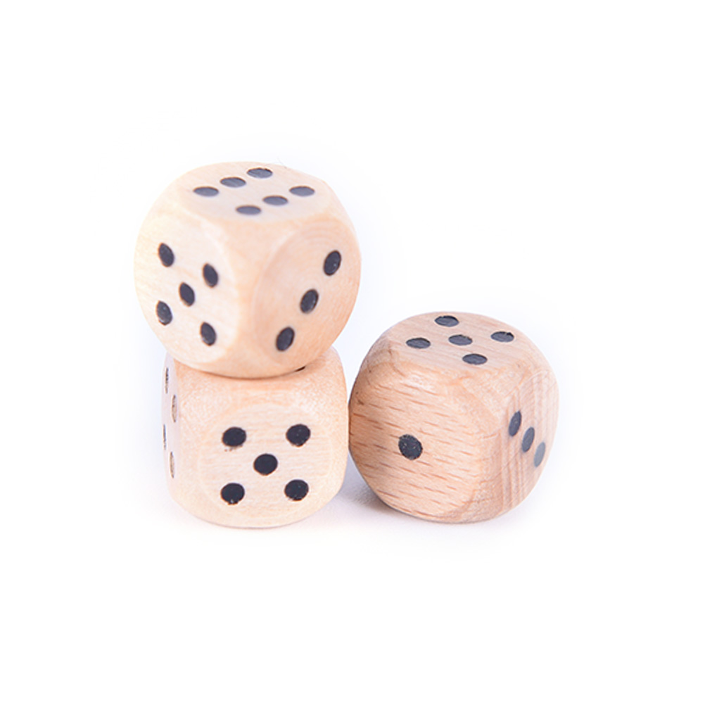 2019 New 10PCS 12mm Wood Dice Point Cubes Round Corner Kid Toys Game 6 Sided Dice Wholesale Family Game