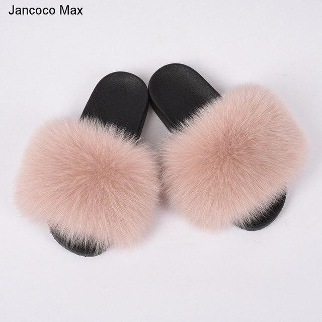 2019 New Arrival Women Real Fox Slipper Summer Autumn Fashion Wide Fur Slide Female Indoor Flip Flops S6018W