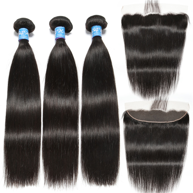 Alisky Hair Brazilian Remy Hair Straight Hair Lace Frontal Closure With Bundles 4 PCS Human Hair Extensions Hair Weave Bundles