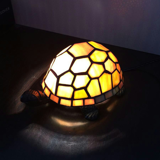 Retro Tortoise Table Lamp Tiffany European Bedroom Bedside Desk Stained Gl Turtle Night