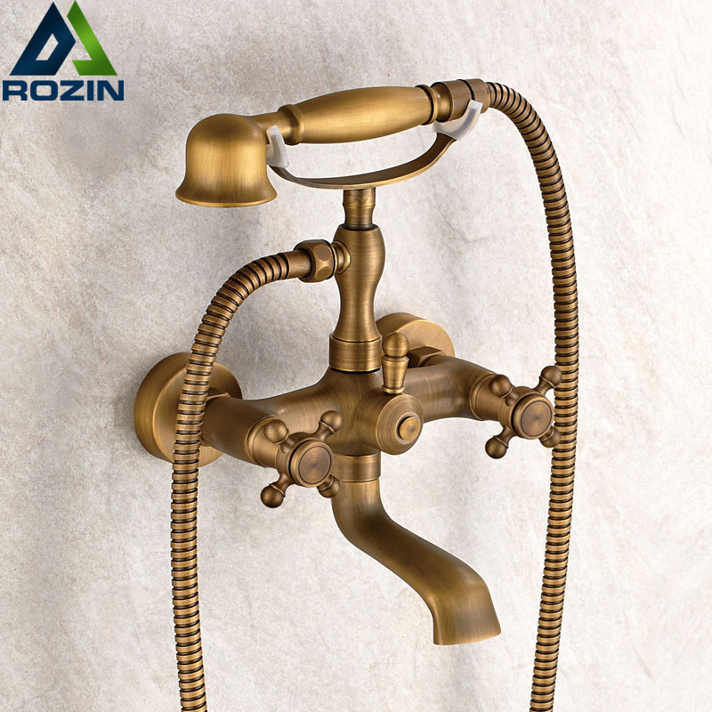 Retro Style Brass Bath Shower Faucet Set Dual Knobs Wall Mounted Bathtub Mixers with Handshower Swive Tub Spout ouboni brand new arrival high quality chrome water shower faucet set bath tub shower mixers with handshower 8 rain showerhead