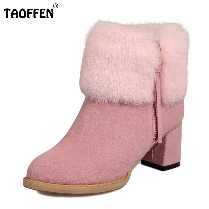 Winter Plush Real Leather Boots Thickened Fur Women Ankle Snow Boots Ladies Zipper Square High Heel Botas Women Shoes Size 32-43 taoffen winter real leather boots thickened fur women boots short ankle snow boots lady buckle footwear women shoes size 33 42