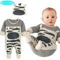 Líder urso 2017 Novo estilo meninos roupas de bebê Zebra cinza longo-manga + chapéu macacão babysuit 70 pacotes de pé crianças roupas