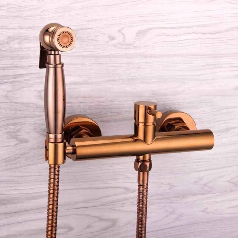 Nouvelle arrivée vente chaude rose or bidet robinet de haute qualité mur en laiton monté salle de bains bidet robinet ensemble avec 1.5 M plomberie tuyau