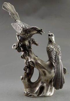 9.25 inch / China's old Tibet copper silver statue the magpies plum blossom /