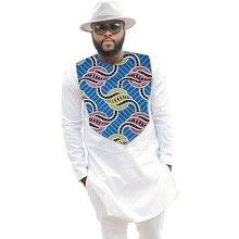 African Print Mens Shirt Dashiki Ankara Clothes Fashion White Patchwork Male Long Sleeve Tops