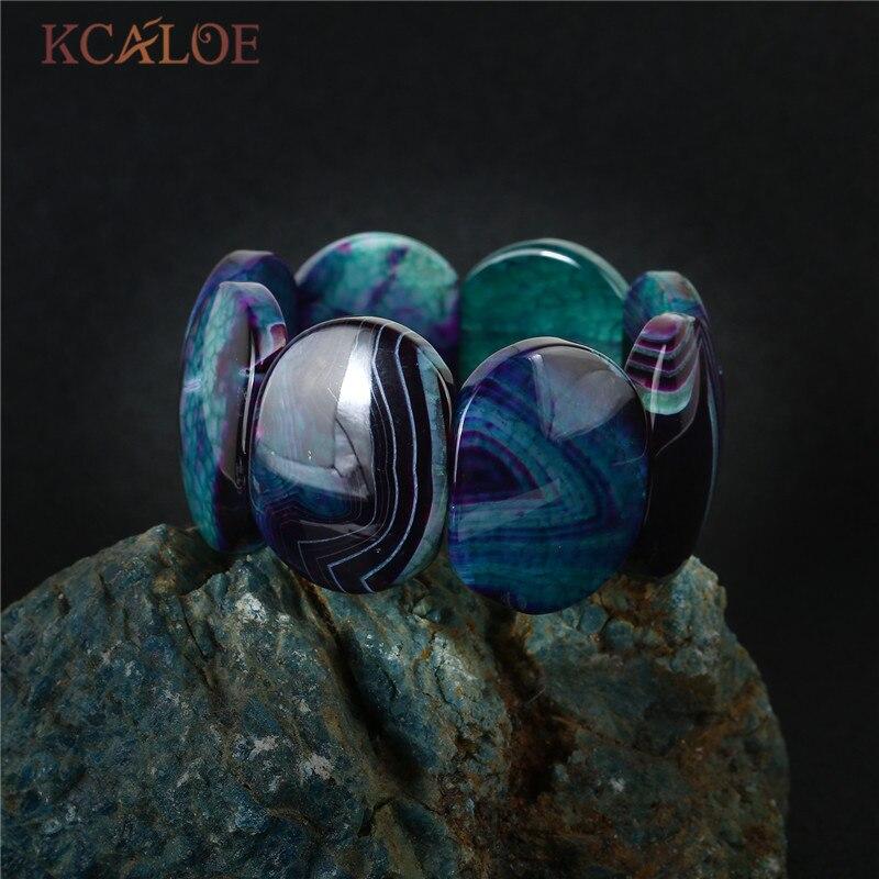 KCALOE Big Onyx Stone Wrap Bracelets Natural Semi-Precious Stones Stretch Charm