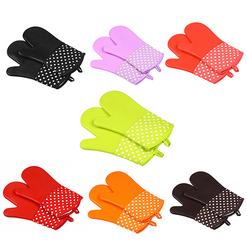Oven Mitts Kitchen Cooking Convenient Silicone Nonslip Insulated Glove F7F2