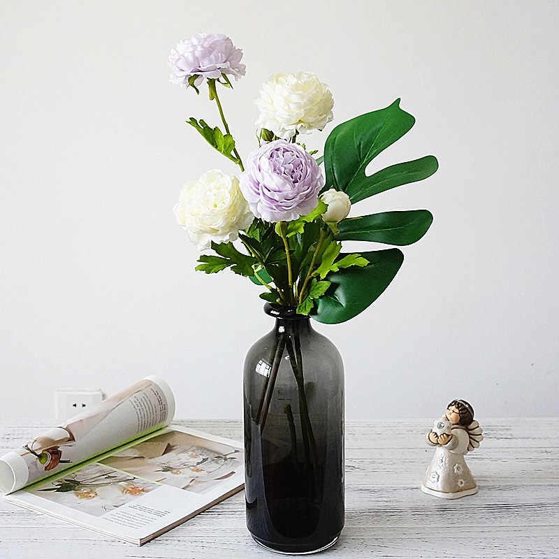 Sutra Simulasi 3 Kepala Mawar Buket Rumah Ruang Tamu Hotel Dekorasi Meja Buatan Bunga Pernikahan Pengantin Bunga 1 Pc