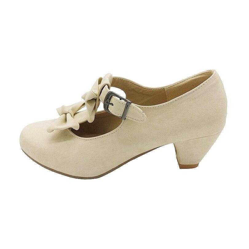 Womens Sweet Round Toe Buckle Strap Lolita Cosplay Shoes Med Block Heels SZ E177