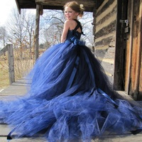 Mother and Daugther Wedding Dress Blue Ball Gowns Mom and Daughter Dress Big Girls Flowers Mother of The Bride Dresses 12 Years