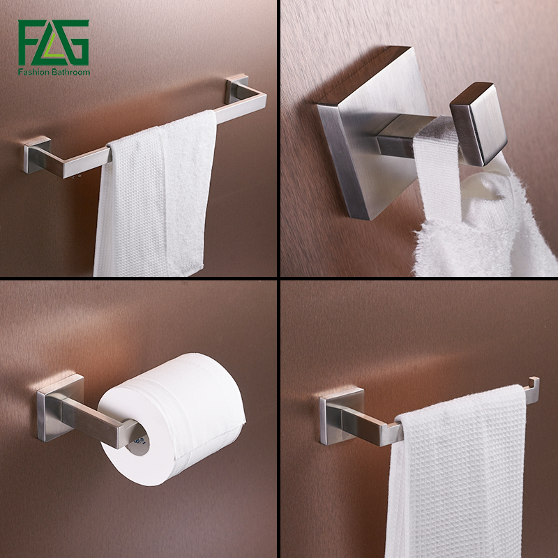 Bath hardware sets 304 stainless steel bathroom accessories towel bar paper holder hook wall for Stainless steel bathroom accessories