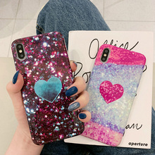 Glitter Case For iPhone 7 8 6 6S Plus Phone Back Cover For iPhone X XR XS MAX Bling Cases Coque Soft TPU Silicone Heart Pattern цена и фото