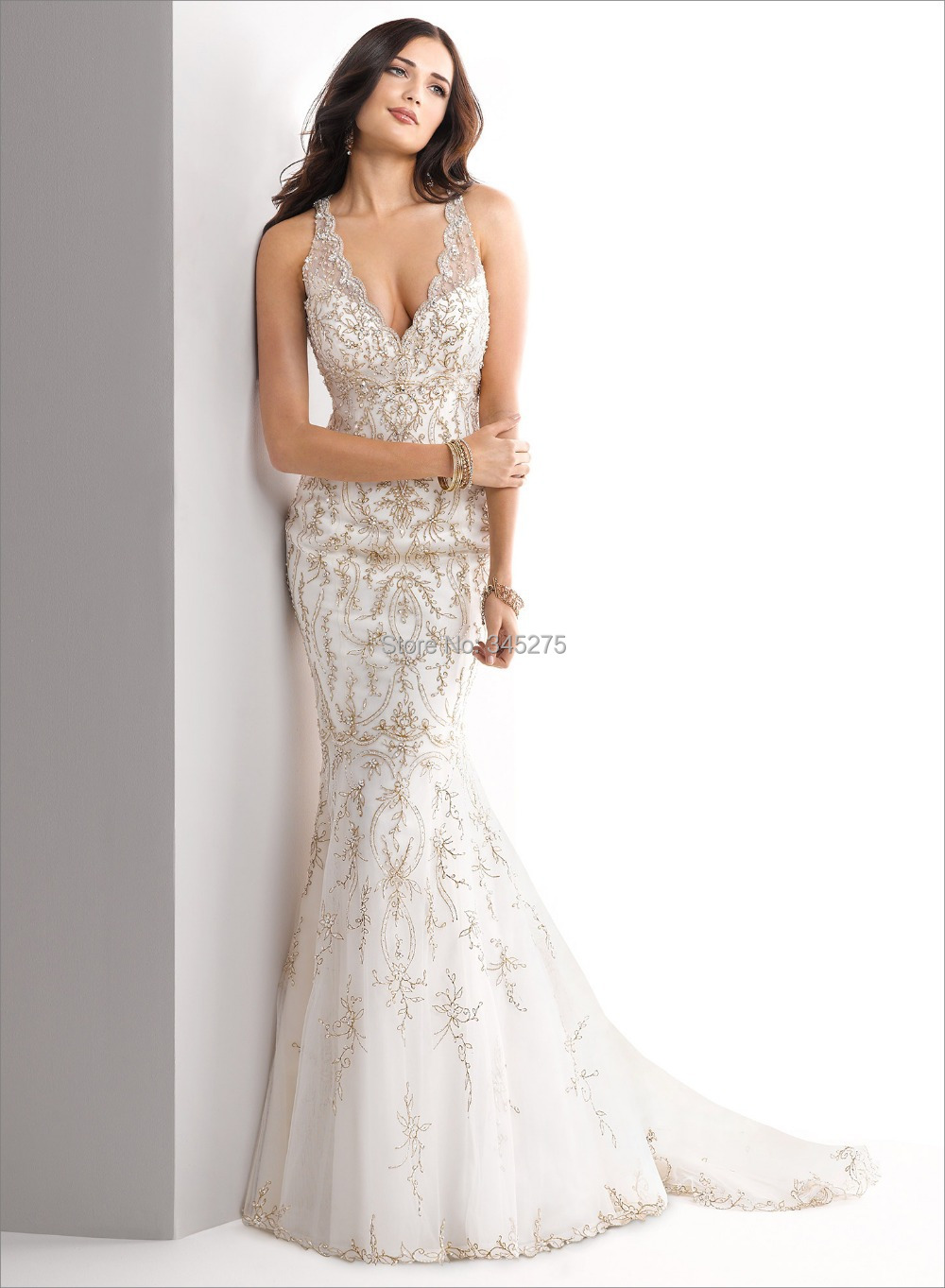 Ivory Gold Embroidery Beading Illusion V Neckline Wedding Dress