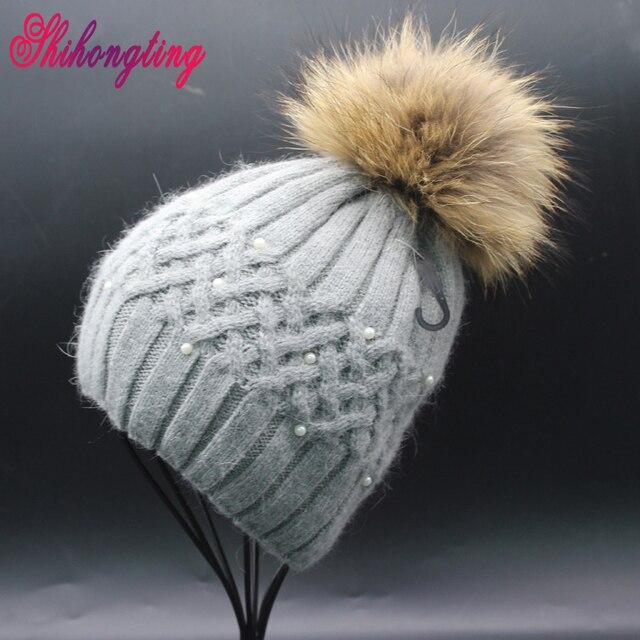 Perla Gorros Sombreros 2016 de Cabeza de la Bola de Punto Sombreros de Las Mujeres de piel de Mapache Del Conejo Espesar Invierno Tocado Manual ZZM011