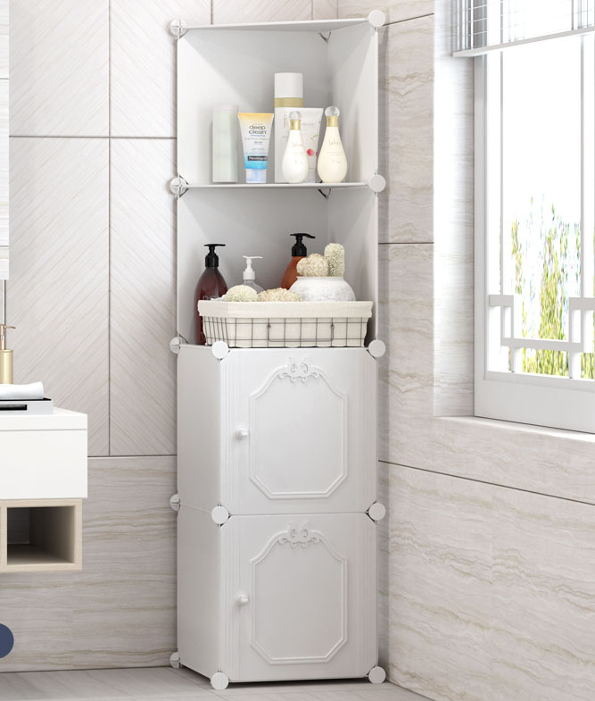 Floor Stand White Storage Cabinet Corner Bathroom Vanity Side Cabinet Bedroom Kitchen Cabinet Shelf Living Room Furniture B538