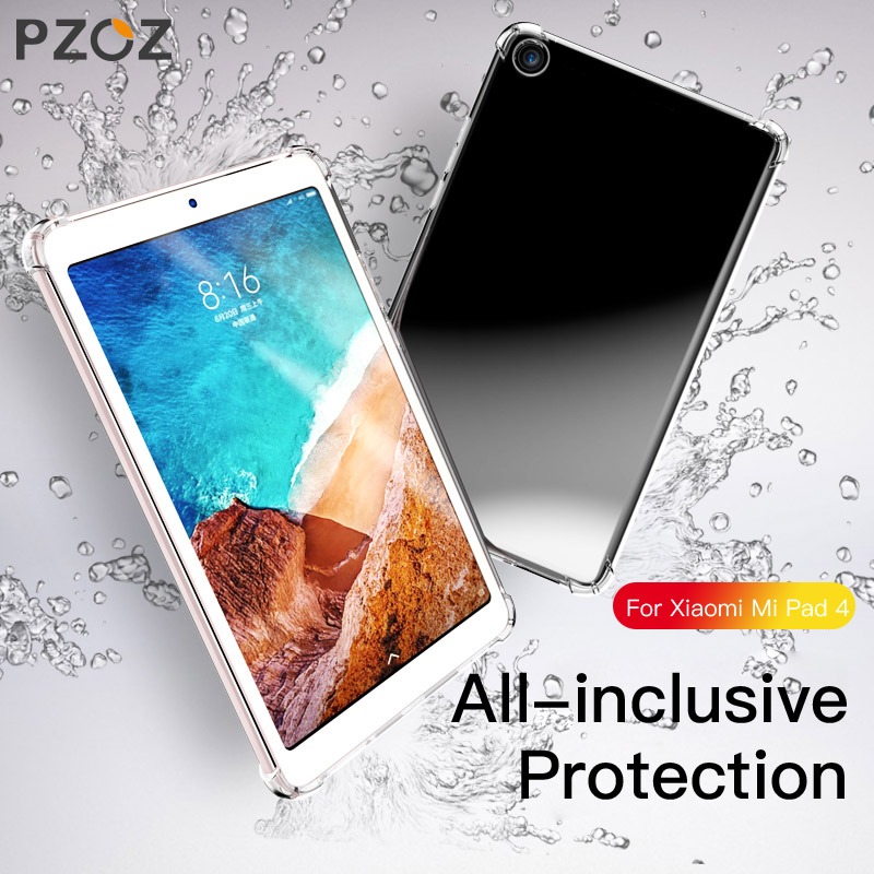 все цены на Pzoz For Xiaomi Mi Pad 4 Case Silicone Tpu Mipad 4 Plus Case Back Cover Shockproof Protective Tablet Xiomi mi Pad4 8 10 inch онлайн