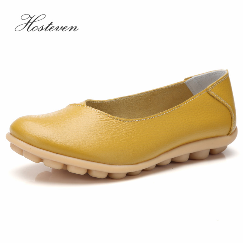 Hosteven Women Shoes Flats Sneakers Loafers Casual Moccasins Genuine Leather Comfortable Ladies Female Shoe Low Heel Footwear