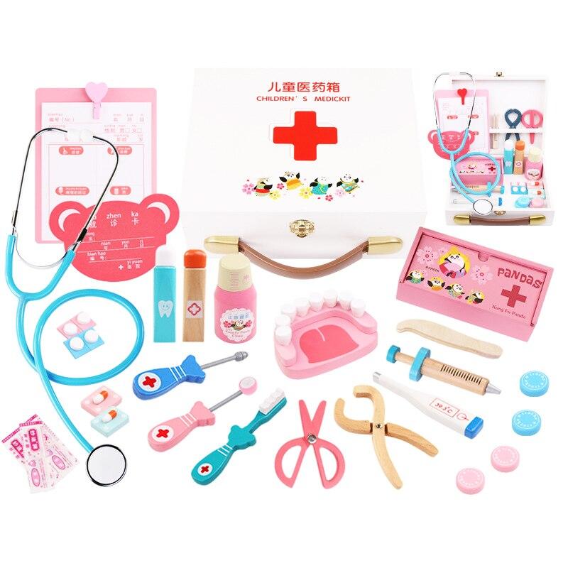 AIBOULLY kit de jouets pour enfants outil d'injection simulation en bois boîte de médecine de la vie réelle fille jouets cadeaux stéthoscope à la maison