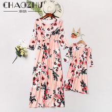 CHAOZHU New 2019 Spring Summer Mother&Daughter Long Sleeves Dress Floral European Fashion 5 Colors Pink/Navy Sweet Ins