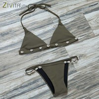Swimwear Women 2017 Summer Style Beach Bikini Set Fashion Army Green Swimsuit Sexy Maillot De Bain