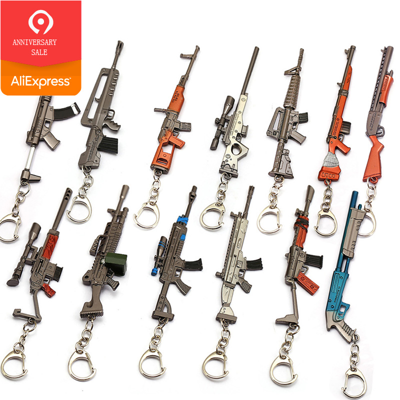 <font><b>12</b></font> CM Battle Royale Action Figure Gun Model Keychain Metal Weapon Christmas Toys Kids Gifts image