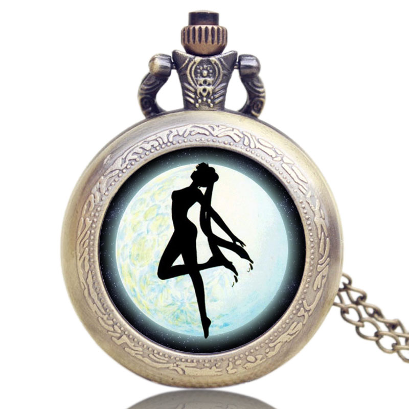 Elegant Design Pretty Soldier Sailor Moon Pocket Watch Beautiful Girl Pattern Watch for Lady Girlfriend P1164
