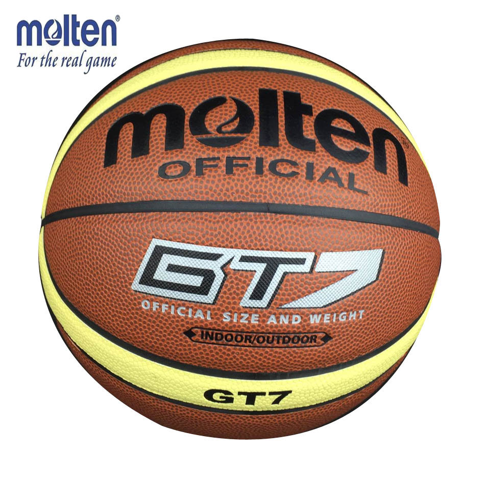 Official Standard Size7 Molten GT7 PU Indoor Outdoor Leather Basketball Ball Training Equipment With Gift Of Ball Pin + Net bag