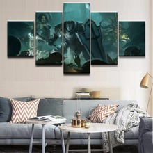 Decor Picture Canvas Print Painting Wall Art Poster Modern 5 Panel Crusader Diablo III Reaper Of Souls Witch Doctor For Bedroom
