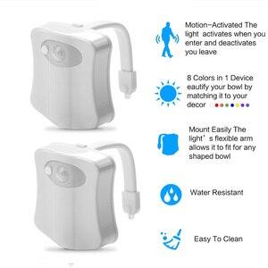 Image 4 - Inteligentne światło nocne do toalety led WC closestool ruch ciała aktywowane siedzenia czujnik PIR lampa samochodowa aktywowany cokole WC 8 kolor