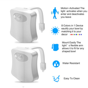 Image 4 - Smart toilet night light led WC closestool Body Motion Activated Seat PIR Sensor auto Lamp Activated pedestal Toilet 8color