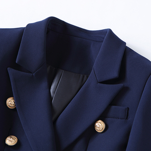 Image 3 - HIGH QUALITY New Fashion 2020 Designer Blazer Jacket Womens Gold Buttons Double Breasted Blazer Outerwear size S XXXL