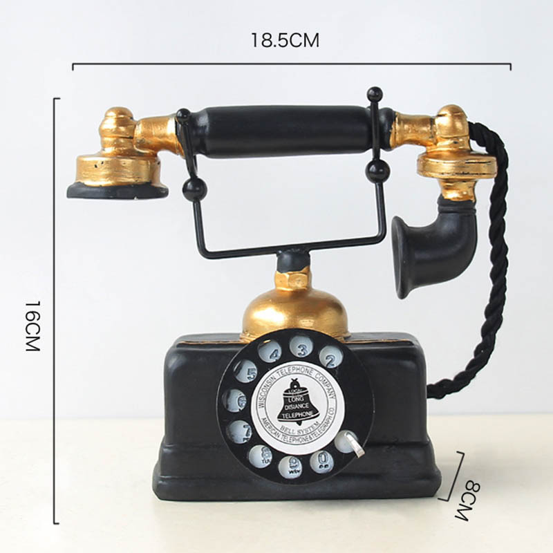 Newly Vintage Telephone Statue Antique Shabby Old Phone Figurine Home Decor MK