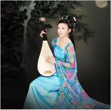 Tang suit hanfu princess female costume fairy color yarn guzheng dance clothes Beautiful girl long drag  formal dresses female