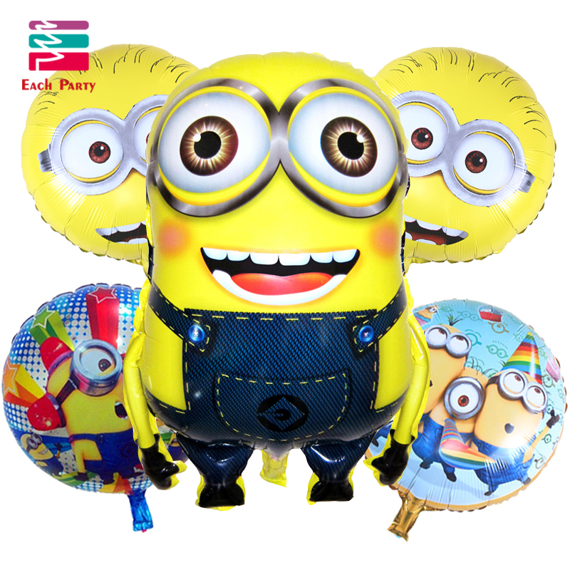 5pcs Minions foil balloons children classic toys Inflatable helium balloon happy