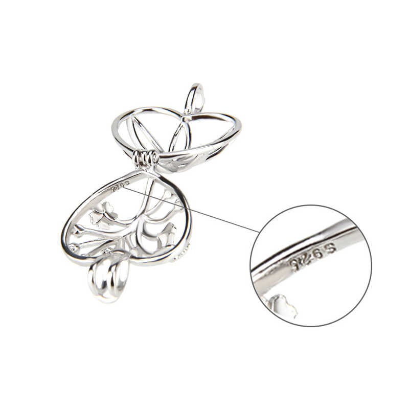 CLUCI 925 Sterling Silver Necklace Jewelry Dainty Heart Design with Flower Pattern Women Cage Pendant Pearl Locket
