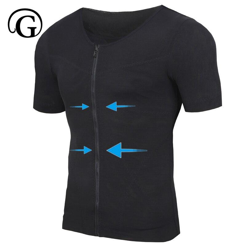 100% Waar Afslanken Ondergoed Buik Mannen Body Shaper Bodybuilding Vest Buik Borst Boobi Compressie Coerset Houding Corrector Tshirt Bekwame Productie