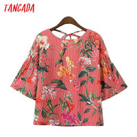 Tangada Women Striped Floral Print Blouses Shirts Vintage Backless Bow Tie Flare Sleeve Shirt Fashion Summer Blusas Tops XD122