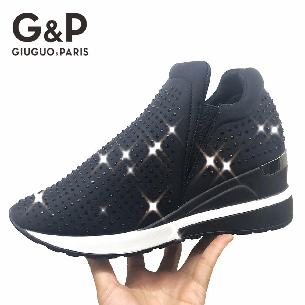 Bling Sneakers Rhinestone Shoe Crystal Women's Vulcanize Shoes Luxury Casual Woman 2019 Ladies Sneaker Platform Height 6 CM