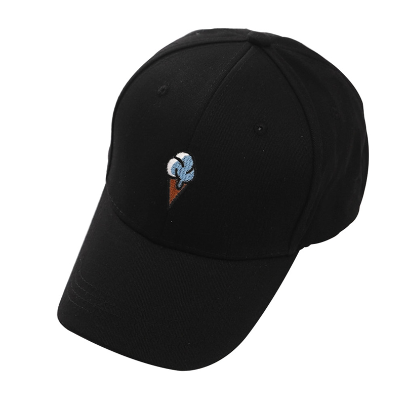 Summer Cotton Caps Baseball Cap Unisex Snapback Embroidery Ice Cream Hats Hip-Hop Adjustable Hat Solid Color