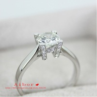 Letter 1Carat sona Synthetic Gem Engagement Rings For Women,Solitaire Ring with accents Wedding rings