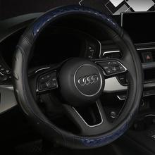 KKYSYELVA Leather Car Steering Wheel Covers 38cm/15 Universal Auto wheel covers Interior Accessories