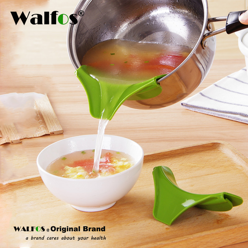 WALFOS Creative Anti spill Silicone Slip On Pour Soup Funnel for Pots Pans and Bowls and Jars Kitchen Gadget Tool in Cookware Handles Knobs from Home Garden