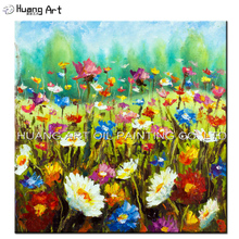 Handpainted Modern Beautiful Wild Flowers Landscape Oil Painting On Canvas Colorful Knife Flower for Room Wall Decor