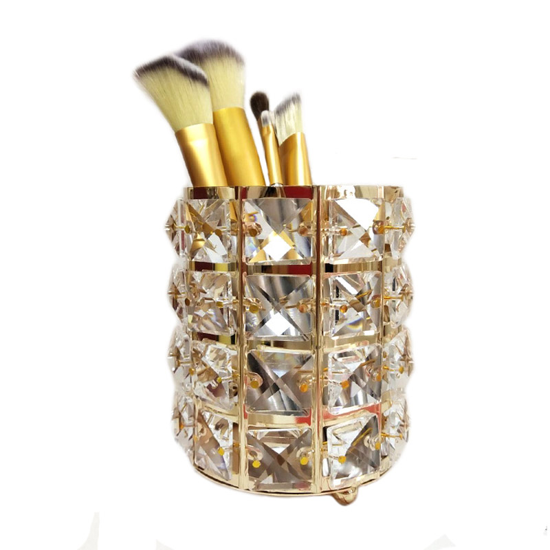Metal Makeup Brush Storage Box Acrylic Cotton Swab Box Cosmetic Eyebrow Pencil Holder Tube Crystal Beads Jewelry Storage Case in Storage Boxes Bins from Home Garden