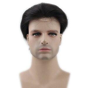 Image 4 - Éseewigs toupee masculino cor natural 8x10 remy peruca de cabelo humano para homens em linha reta mono net suíço laço frente peruca pele plutônio em torno